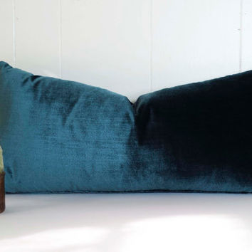 12x24 Turquoise Silk Velvet Lumbar Throw Pillow Cover