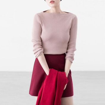 PEAPON Fashion word collar bodycon knit sweater