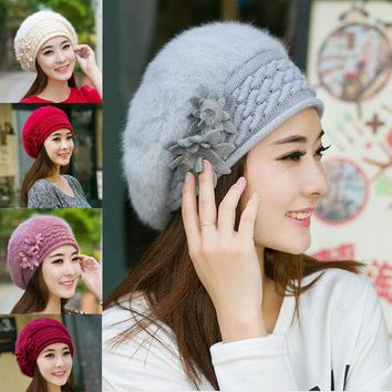 DCCKJG2 Fashion 5 Colors New Warm Winter Flower Rabbit Hair Hat Knit Beret Hat Clothing Accessories Christmas Gift