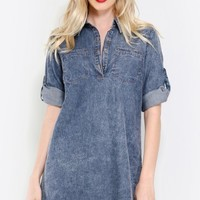 Casual Day Acid Wash Denim Dress | MakeMeChic.com