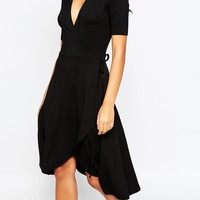 ASOS Midi Tea Dress With Wrap Front at asos.com