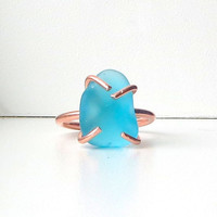 Caribbean Blue Sea Glass Ring Copper