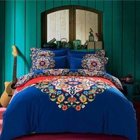 Blue Bohemian Winter Warm Sanded Cotton Bedding Set With Flowers Printing,4pcs Boho Bed Set (Duvet Cover+Flat Sheet+Pillow sham)