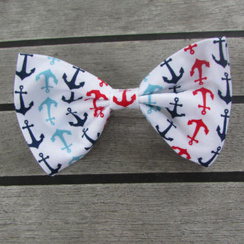 Anchors Away Red, White, Light Blue and Navy Blue Nautical Boating Hair Bow