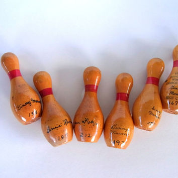 Vintage Small Wooden Bowling Pins Bowling Trophies High Game Trophies Home Decor or Crafting