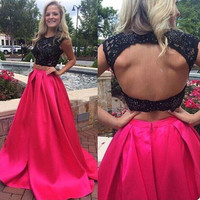 Two Piece Satin and Lace Prom Gowns Keyhole Back pst0021