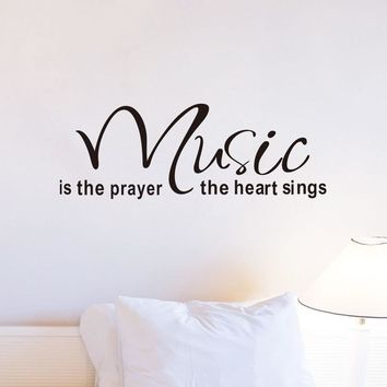 Music Is The Prayer The Heart Removable Vinyl Wall Stickers