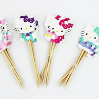 24pcs Hello Kitty Cupcake Topper, Party Decoration, Party Favors