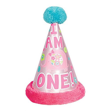 """Amscan One Wild Girl 1st Birthday Cone Hat with Faux Fur Trim, 8.5"""", Pink/Blue"""