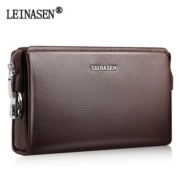 Men Clutch Famous Brand Men Soft Leather Long Wallets Purse Card Holder Large Capacity Male Clutch Bag Man Handy Bags For Phone