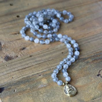 Cloudy Quartz Hand Knotted Mala Necklace