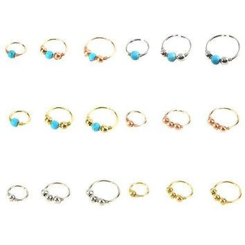 ac ICIKO2Q 3pcs/set Green Stone Hoop Helix Piercing Ear Cartilage Surgical Septum Clickers Nose Ring Tragus Daith Migraine Piercing