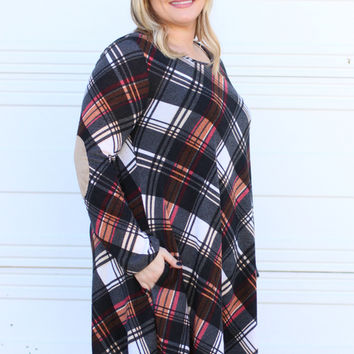 Next Thing You Know Plaid Print Tunic/Dress With Elbow Patches ~ Black ~ Sizes 12-18