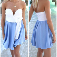 Sweet Summertime White And Blue Tube Top Mini Dress