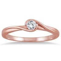 1/6 Carat Diamond Solitaire Wrap Ring in 10K Rose Gold