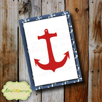 Greeting Card Nautical Card Anchor Card Printable Greeting Card Red Nautical Card Ocean Card Nautical Card Red Nautical INSTANT DOWNLOAD