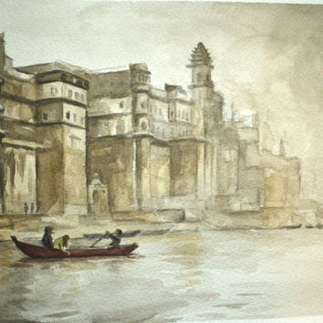 India Painting Watercolor Ganges 10x14 FREE by BohemianHabits