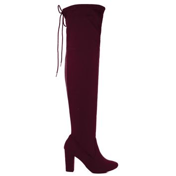 Snivy Vino By Delicious, OTK Over Knee Thigh High Slouchy Boots w/ Back Lace Tie & Blo