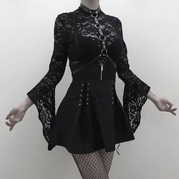 Woman Set Black Two Piece Goth Lace Dress Suspender Lace Up See Through