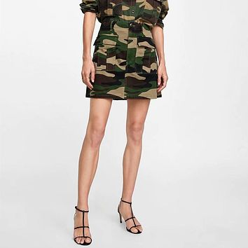 Women Casual Fashion Camouflage Print Short Skirt
