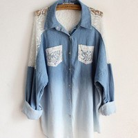 Fashion and lovely Bat sleeve loose lace collar long denim shirts