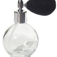 Refillable Empty Glass Perfume Bottle with Black Mesh Spray Atomizer 2.65 oz Ounces