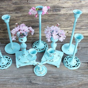 Beach House Decor Aqua Vintage Brass Candlestick Collection of 8 Perfect for Sea Wedding & Coastal Rooms