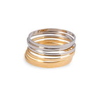 6 Thin Knuckle Rings in gold and chrome silver