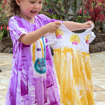 Girls Sundress - Girl Summer Dress  - Kauai Hawaii Mermaid - Mermaid Dress - Hawaii Girl Gift - Cotton Beach Dress - purple pink