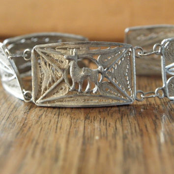 Victorian Silver Filigree Bracelet, 7 inches, delicate, dainty, South America, world travel, llama, coin