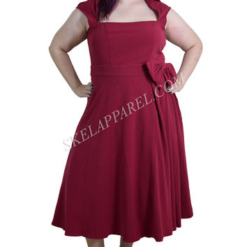 Rockabilly Vamp Plus 60's Vintage design Red Belted Party Dress with Bow Accent
