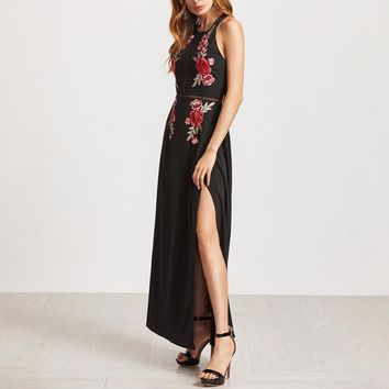 Womens Halter Neck Floral Print Backless Embroidery Beach Party Maxi Dress