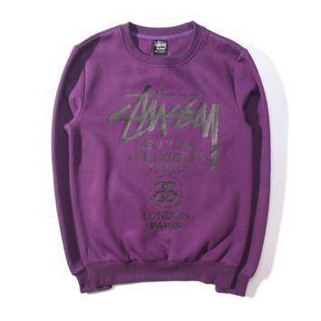 Stussy  Men and women with thick sweater couple sets of small head cotton sweater Purple