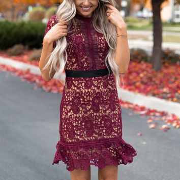 Paris Maroon Lace Dress