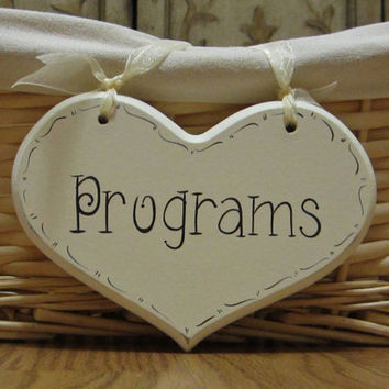 "Hand Painted Wooden Shabby Small Heart Wedding Sign / Reception Sign / Cards Sign, ""Programs"""