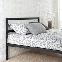 Full Metal Platform Bed with Headboard and Wood Slats