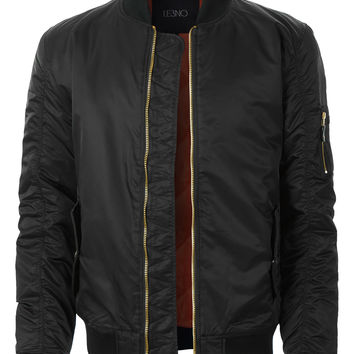 LE3NO Mens Classic Nylon MA-1 Bomber Flight Jacket with Multiple Pockets