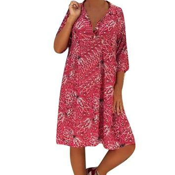 Bohe floral print turn-down collar women short dresses Spring red half sleeve loose dress Casual beach vestido ladies