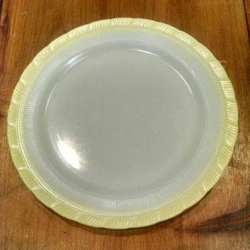 Vintage Monax Glass Cake Plate Macbeth-Evans Glass under Corning, White and Yellow Milk Glass Serving Dish, Depression Glass, Oxford Swirl