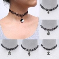 Handmade Fashion Vintage Stretch Tattoo Choker Necklace Gothic Punk Grunge Henna Elastic with Pendant Necklaces Jewelry = 1946992772