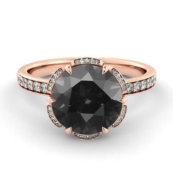 Black Diamond Engagement Ring, Flower Diamond Ring, Vintage Engagement Ring, Art Deco Promise Ring, Black Diamond Halo Ring