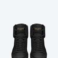Saint Laurent High Top Court Classic Sneakers In Black Leather | ysl.com