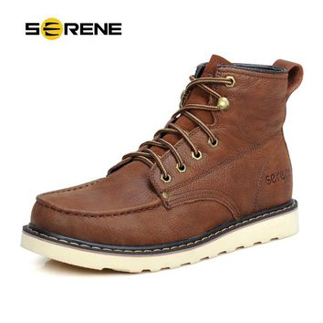 SERENE Tooling Boots Men Leather Shoes British Style Work Botas Lace-up High Top Casual Boots Men Winter Boots Chukka Boots 3153