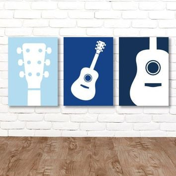Boy GUITAR Wall Art, Music Theme Guitar Nursery Decor, Boy Guitar Bedroom Pictures, Music Rock and Roll Art Set of 3 Guitar Canvas or Print