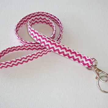 Lanyard  ID Badge Holder - NEW THINNER design - Hot Pink chevron zigzag zig zag  - Lobster clasp and key ring