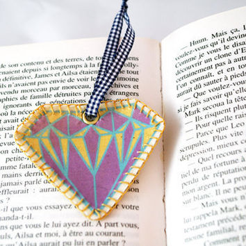 Diamond bookmark Fabric embroidery bookmark