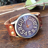 Handmade Retro Big Convex Dial Leather Watch