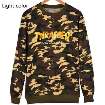 Thrasher Flame jacket with long sleeves loose set of Pullovers sweater Yellow