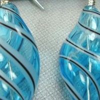 Blue Twist Blown Glass Earrings with Stripes | designsbypatriciahall - Jewelry on ArtFire