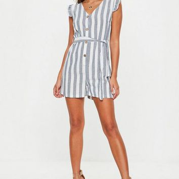 Missguided - Blue Stripe Button Cotton Romper